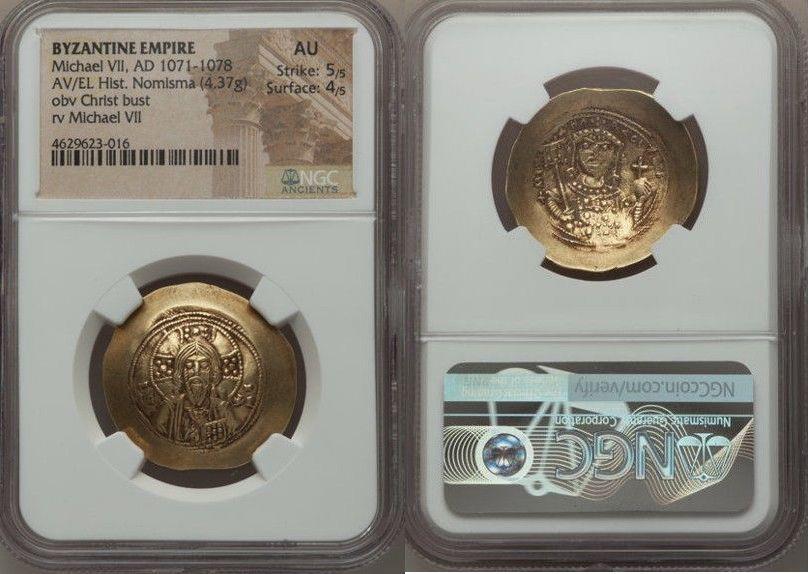 Ancient Coins - Michael VII Ducas (AD 1071-1078). AV/EL histamenon nomisma scyphate (29mm, 4.37 gm, 6h)