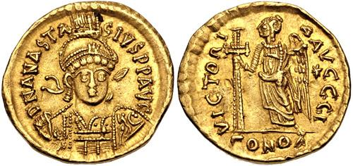 Ancient Coins - Anastasius I. 491-518. AV Solidus (20mm, 4.38 g, 6h). Constantinople mint, 10th officina.