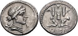 Ancient Coins - The Caesarians. Julius Caesar. Late 46-early 45 BC. AR Denarius (18.5mm, 3.84 g, 6h). Military mint