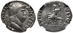 Ancient Coins - Nero. AD 54-68. AR Denarius (17mm, , 6h). Rome mint. Struck circa AD 64-65.