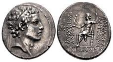 Ancient Coins - SELEUKID EMPIRE. Antiochos IV Epiphanes. 175-164 BC. AR Tetradrachm (29.5mm, 16.36 g, 1h)