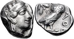 Ancient Coins - ATTICA, Athens. Circa 454-404 BC. AR Tetradrachm (21mm, 17.07 g, 8h).