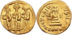 Ancient Coins - Heraclius, with Heraclius Constantine and Heraclonas. 610-641. AV Solidus (19mm, 4.42 g, 6h).