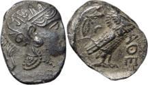 Ancient Coins - Ancient Greek ATTICA, Athens. Circa 353-294 BC. AR Tetradrachm