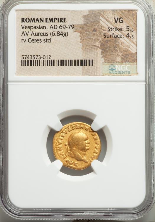 Ancient Coins - Vespasian (AD 69-79). AV aureus (19mm, 6.84 gm, 6h). NGC