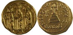 Ancient Coins -  Heraclius, with Heraclius Constantine and Heraclonas. 610-641. AV Solidus (20mm, 4.33 g)