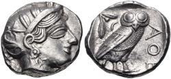 Ancient Coins - ATTICA, Athens. Circa 454-404 BC. AR Tetradrachm (23mm, 17.20 g, 8h). Helmeted head of Athena