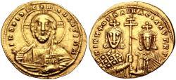 Ancient Coins - Nicephorus II Phocas, with Basil II. 963-969. AV Histamenon Nomisma (22mm, 4.41 g, 6h).