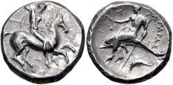 Ancient Coins - CALABRIA, Tarentum. Circa 315-302 BC. AR Nomos (20mm, 7.80 g, 9h)