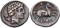 Ancient Coins - IBERIA, Bolskan. Circa 80-72 BC. AR Denarius (18mm, 4.16 g, 1h).