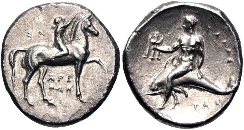 Ancient Coins - CALABRIA, Tarentum. Circa 280 BC. AR Nomos (21.5mm, 7.62 g, 12h).