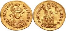 Ancient Coins - Arcadius. AD 383-408. AV Solidus (20mm, 4.02 g, 12h). Thessalonica mint. Struck AD 395-402.