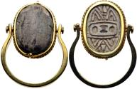 Ancient Egypt. Hyksos Period. 1650-1550 BC. Steatite scarab in modern 18kt yellow gold mount