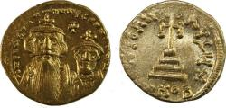 Ancient Coins - CONSTANS II, with CONSTANTINE IV. 641-668 AD. AV Solidus (20mm, 4.48 gm).