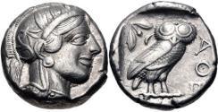 Ancient Coins - ATTICA, Athens. Circa 454-404 BC. AR Tetradrachm (22mm, 17.11 g, 8h)
