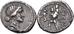 Ancient Coins - The Caesarians. Julius Caesar. Late 48-47 BC. AR Denarius (18mm, 3.37 g, 6h). Military mint