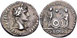 Ancient Coins - Augustus. 27 BC-AD 14. AR Denarius (19mm, 3.65 g, 3h). Lugdunum (Lyon) mint.
