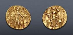Ancient Coins - INDIA, Kushan Empire. Shaka. Circa AD 325-345. Pale AV Dinar (21mm, 7.69 g, 12h).
