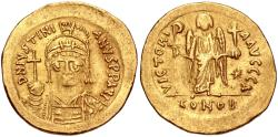 Ancient Coins - Justinian I. 527-565. AV Solidus (20mm, 4.41 g, 6h). Constantinople mint, 1st officina.