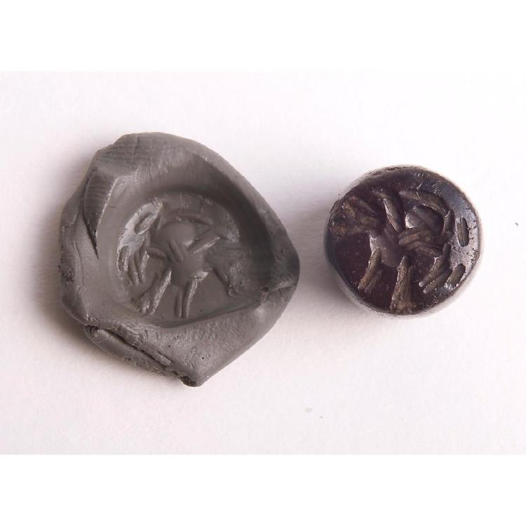 Ancient Coins - Ancient Sasanian Hematite Stamp Seal c.5th century A.D.