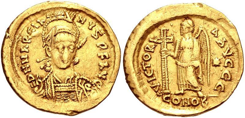 Ancient Coins -  Marcian. AD 450-457. AV Solidus (20mm, 4.09 g, 6h). Constantinople mint.