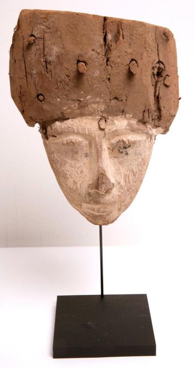 Ancient Coins - Ancient Egyptian Mummy Wood Mask c.635 BC.