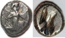 Ancient Coins - Persia, Achaemenid Kings. Circa 485-470 BC. AR Siglos (5.5 gm, 15mm). Persian king