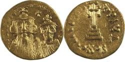 Ancient Coins -  Constans II, with Constantine IV. 641-668. AV Solidus (20mm, 4.49 g). Constantinople mint,
