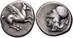 Ancient Coins - CORINTHIA, Corinth. Circa 400-35/45 BC. AR Stater (20mm, 8.27 g, 8h). Pegasos flying