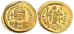 Ancient Coins - Justinian I. 527-565. AV Solidus (22mm, 4.49 g, 6h). Constantinople mint, 6th officina.