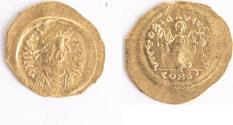 Ancient Coins - Byzantine AV Tremissis. Justinian I. 527-565  Constantinople mint. (17mm, 1.47g) SB 145.