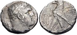Ancient Coins - PHOENICIA, Tyre. 126/5 BC-AD 65/6. AR Shekel (25mm, 13.99 g, 12h). Dated CY 162 (AD 36/7).