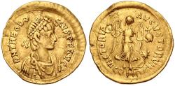 Ancient Coins - Theodosius II. AD 402-450. AV Tremissis (15mm, 1.31 g, 6h). Constantinople mint.