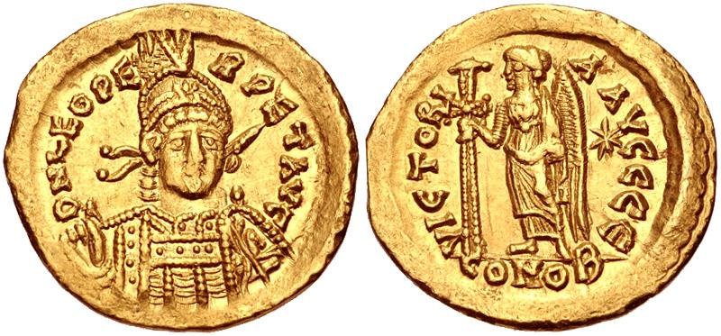 Ancient Coins - Leo I. AD 457-474. AV Solidus (20mm, 4.48 g, 6h). Constantinople mint, 5th officina.