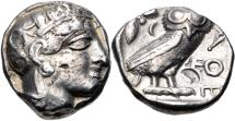 Ancient Coins - ATTICA, Athens. Circa 454-404 BC. AR Tetradrachm (21mm, 17.15 g, 8h). Helmeted head of Athena right, with frontal eye / Owl standing right, head facing; olive sprig and crescent be