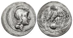 Ancient Coins - ATTICA, Athens. Circa 165-42 BC. AR Tetradrachm (36mm, 16.71 g, 11h). New Style coinage.