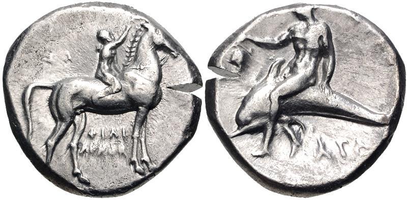 Ancient Coins - CALABRIA, Tarentum. Circa 280 BC. AR Nomos (20mm, 7.76 g, 12h).