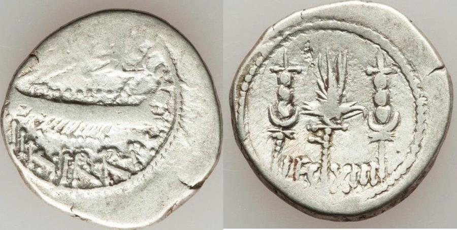 Ancient Coins - Marc Antony, as Triumvir and Imperator (43-31 BC). AR denarius (18mm, 3.48 gm, 6h). About VF. Legionary issue, mint moving with Antony in Greece (Aegae or Patrae), 32-31 BC. ANT •