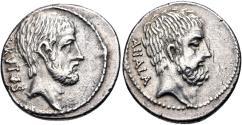 Ancient Coins - Q. Servilius Caepio (M. Junius) Brutus. 54 BC. AR Denarius (18.5mm, 3.95 g, 5h). Rome mint.