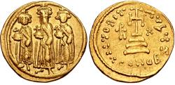 Ancient Coins - Heraclius, with Heraclius Constantine and Heraclonas. 610-641. AV Solidus (21mm, 4.41 g, 6h).