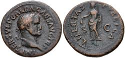 Ancient Coins - Galba. AD 68-69. Æ As (28mm, 10.41 g, 5h). Rome mint. Struck August-October AD 68.