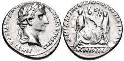Ancient Coins - Augustus. 27 BC-AD 14. AR Denarius (18mm, 3.89 g, 12h). Lugdunum (Lyon) mint. Struck 2 BC-AD 12