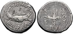 Ancient Coins - The Triumvirs. Mark Antony. Autumn 32-spring 31 BC. AR Denarius (18mm, 3.55 g, 5h). Legionary issue.