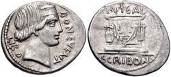 Ancient Coins - L. Scribonius Libo. 62 BC. AR Denarius (20.5mm, 3.91 g, 5h). Rome mint.