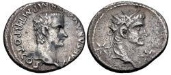 Ancient Coins - Gaius (Caligula), with Divus Augustus. AD 37-41. AR Denarius (19mm, 3.49 g, 6h). Lugdunum (Lyon)