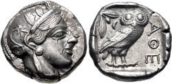 Ancient Coins - ATTICA, Athens. Circa 454-404 BC. AR Tetradrachm (24mm, 17.14 g, 5h).