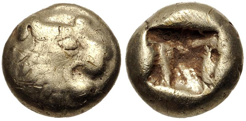 Ancient Coins - KINGS of LYDIA. temp. Alyattes – Kroisos. Circa 620/10-550/39 BC. EL Hemihekte – Twelfth Stater