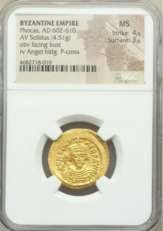 Ancient Coins - Phocas (AD 602-610). AV solidus (22mm, 4.51 gm, 7h). NGC MS