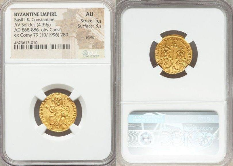 Ancient Coins - Basil I the Macedonian (AD 867-886), with Constantine. AV solidus (19mm, 4.39 gm, 6h). NGC AU 5/5