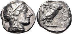 Ancient Coins - ATTICA, Athens. Circa 454-404 BC. AR Tetradrachm (23.5mm, 17.16 g, 4h). Helmeted head of Athena